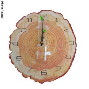 "Attoe Annual Tree Rings Wall Clock 12"" Wooden NIB"